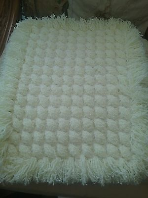 Criss Cross Handmade Baby Blanket Lemon and White