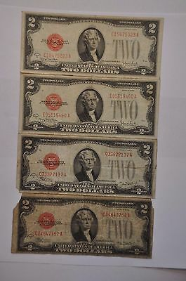1928  Group Of Four (  4 ) $2 Red Seal Early Type