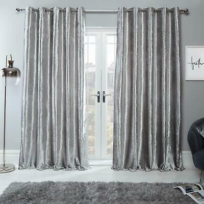Sienna Crushed Velvet Pair of Fully Lined Ring Top Eyelet Curtains Silver Grey