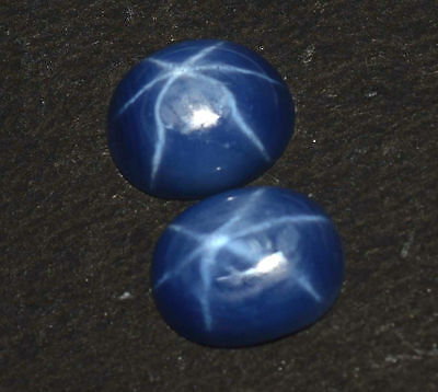 3.15 Ct Pair Of Natural 6 Ray Star Blue Sapphire Cabochon Best Quality Gem Stone