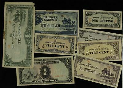 Vintage Mixed Lot Foreign Paper Currency JAPAN Military Occupation