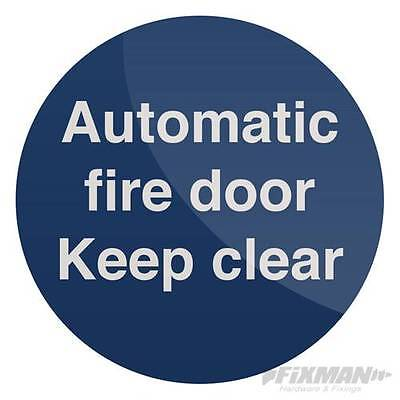 Automatic Fire Door Sign 100 x 100mm Self-Adhesive pack of 5 836711