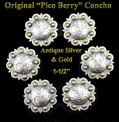 """Lot Of 6 Conchos Antique Silver & Gold Berry Western Bs 9163-2 Leather 1-1/2"""""""