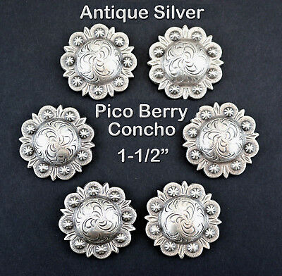 """Lot Of 6 Conchos Antique Silver Pico Berry Western Rodeo Leather 1-1/2 """" New"""