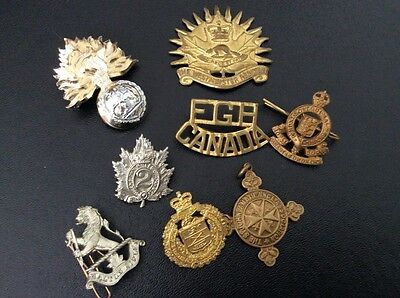 WWI and WWII Canadian Cap Badge Lot / Canada