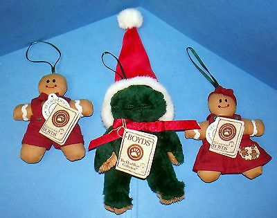 3 Boyds Bear Christmas Tree Ornaments With Tags 2 Gingerbread 1 Frog (ACS)