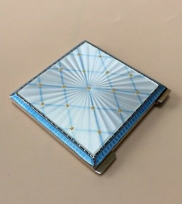 LOVELY SOLID SILVER GUILLOCHE ENAMEL COMPACT, BIRM 1951, 85.8g / 3.02oz