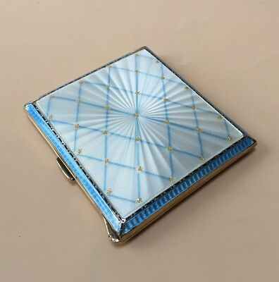 LOVELY SOLID SILVER GUILLOCHE ENAMEL CIGARETTE CASE, BIRM 1953, 104.6g / 3.69oz