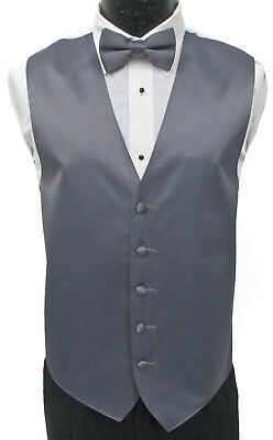 New Pewter Grey Satin Fullback Vest & Choice of Tie Wedding Prom Formal Mason