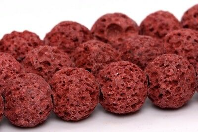 """8MM Natural Red Volcanic Lava Gemstone Beads Grade AB Round Loose Beads 15"""""""