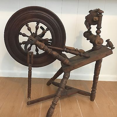 "Antique Spinning Wheel From Brittany France Circa 1840-1860 Wheel 18"" Diameter"