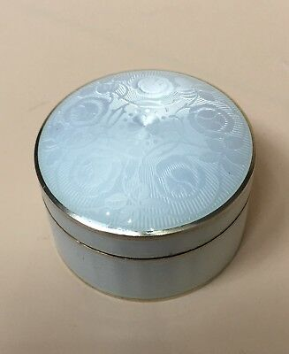 Lovely Solid Silver Gilt Guilloche Enamel Box, Swedish Import Stockholm C1900