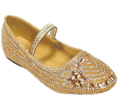 Champagne Glitter Dress Ballet Shoes Flats Youth Size 13,1,2,3,4