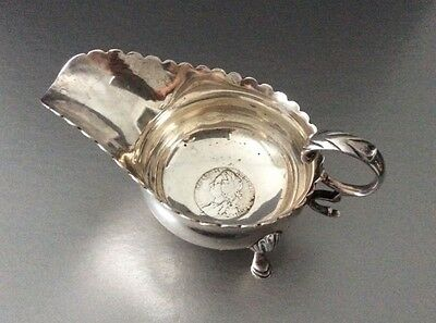 Sterling George II Coin Sauce Boat / Tastevin / Gravy Boat / 1758 Coin