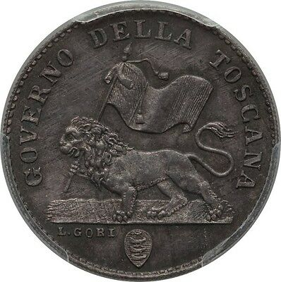 Italy / Italian States  Tuscany  1859  1 Fiorino Silver Coin Pcgs Certified Ms64