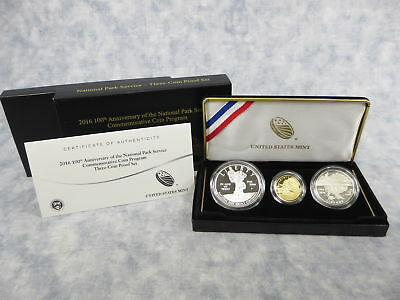 2016 US 100th Anniversary National Park Service Commemorative 3-Coin Proof Set