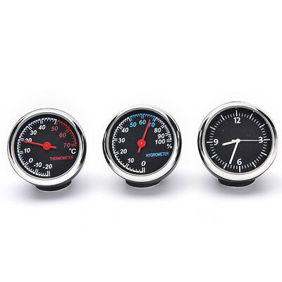 1 Set/3 PCS Car Thermometer Hygrometer Quartz Clock For Dashboard Ornaments SA
