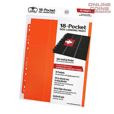Ultimate Guard 18-POCKET SIDE-LOADING TRADING CARD PAGES - ORANGE