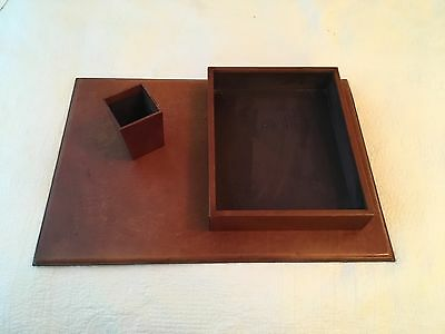 Pottery Barn Leather Desk Set ; Brown Leather ; SEE PICTURES!!!