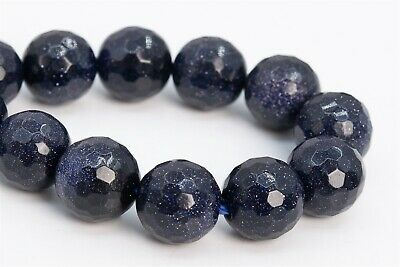 """12MM Night Sky Blue Sandstone Beads AAA Micro Faceted Round Loose Beads 7"""""""
