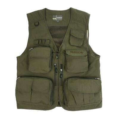 Mens Fly Fishing Vest Chest Multi-pocket Hunting Photography Waistcoat Green