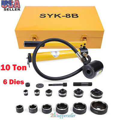 10 Ton Hydraulic Hand Pump Knockout Hole Punch Tool Kit Metal 6 Die 22 to 6 US