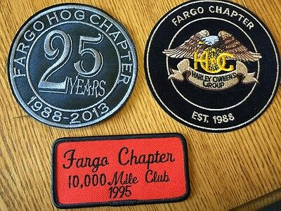 Lot of 3 HOG Harley Davidson Owners Group FARGO ND Chapter Collectible PATCHES
