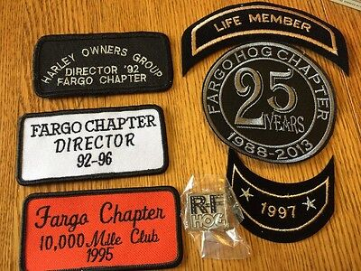 Lot of 6 HOG Harley Davidson Owners Group FARGO ND Collectible PATCHES & 1 PIN