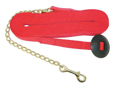 """Partrade Horse Lunge Lead with 20"""" Brass Plated Lead Chain, 25' Red"""