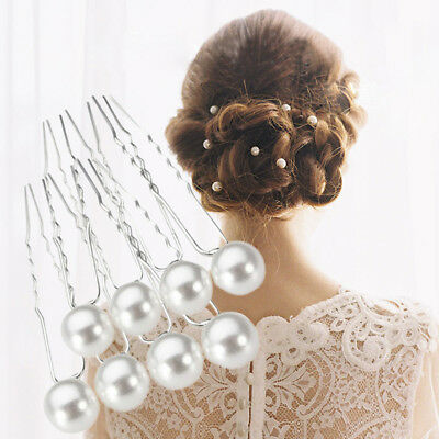20pcs Wedding Bridal Party Charm White Faux Pearl Hair Pins Clip Hairpins