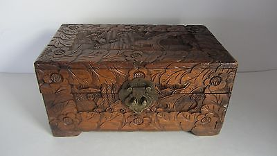 Vintage Antique Wood Hand Carved Chinese Asian Jewelery Box