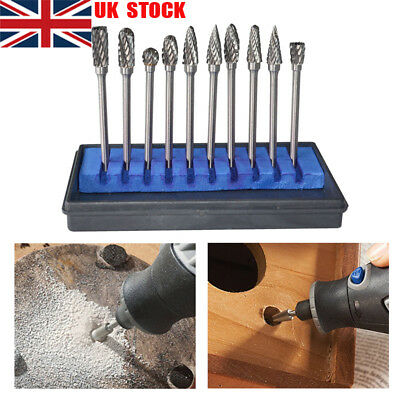 """Handy Tungsten Carbide Double Cut Rotary Burr 1/8"""" Shank Fit Dremel Rotary Tools"""