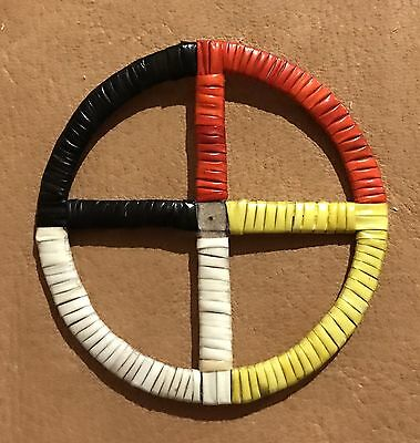 Totally Native American Lakota Quilled Medicine Wheel Quilled On Rawhide