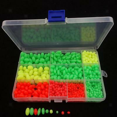 1000Pcs/box Soft Plastic Glow Fishing Beads Kit Round Oval Fish Lures Tool