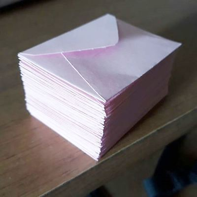 "Handmade small envelopes 1-1/2""x2"" tiny little mini PASTEL PINK paper cute envie"