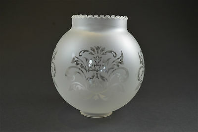 Antique etched frosted glass oil lamp shade globe 2