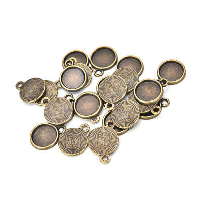 20pcs Necklace Pendant Setting Base Tray Bezel Blank Jewelry Making Findings FT