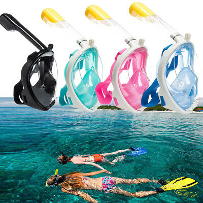 180° Swimming Diving Full Face Breath Anti-fog Mask Surface Snorkel Scuba Glasse