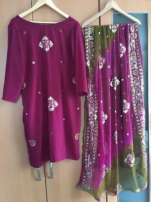Indian 3 piece set - plum and green colour - Large size