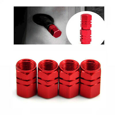 4pcs Red Aluminum Tire Wheel Rims Stem Air Valve Caps Tyre Cover Car Truck Bike