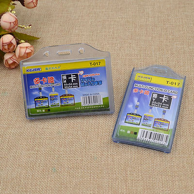 2PCS ID Card Badge Holder Pockets Clear Business Card Plastic Office Vertical