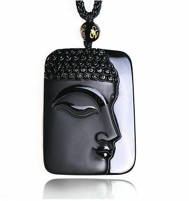 Fine natural Obsidian stone carved black buddha charm pendant necklace