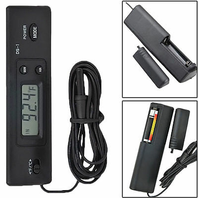 Digital Temp Meter Thermometer for Fish Tank Wired Aquarium Black Electronic LCD