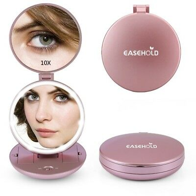 Easehold LED Lighted Makeup Mirror Handheld 1X/10X Magnifying Portable Double