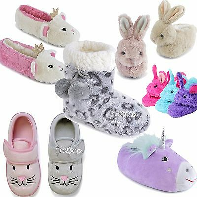 Girls Kids Bootee Ballet Novelty Slippers Children's Unicorn Soft 3D Sizes 9-3