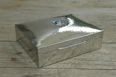 Arts and Crafts Liberty Tudric pewter box with blue enamel jeweled casket