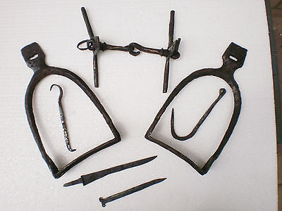 Set of ANCIENT RARE Viking Iron Stirrups Horse Bit Tools 8 -10 century AD