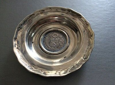 Sterling Silver dish with Peruvian 1907 1/2 Sol Coin / Embedded Silver Coin / Pe