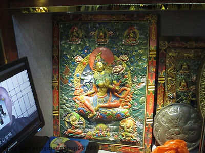 Tibet Temple Wood Carved Painted Green Tara Kwan-Yin  Bodhisattva TangKa Screen