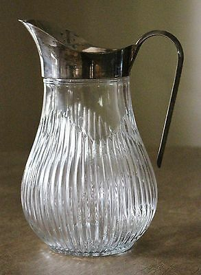 Vintage Glass Water PITCHER Silverplate Handle Ice Lip ITALY Ribbed Bulbous